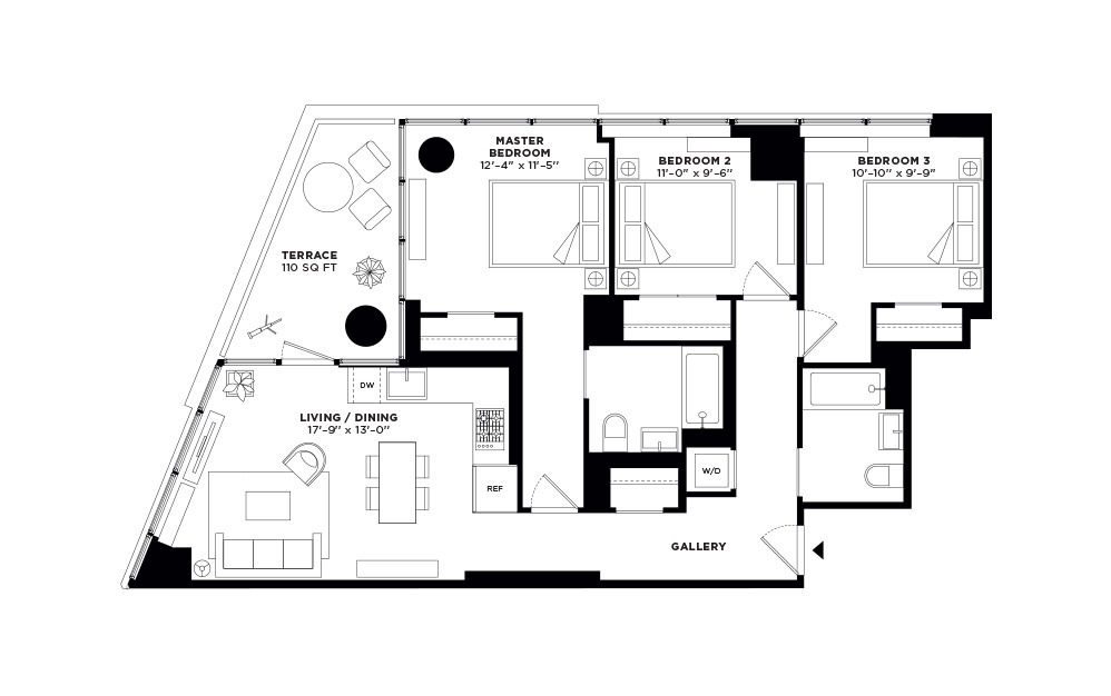 T.401-T.901 - 3 bedroom floorplan layout with 2 baths and 1091 square feet.