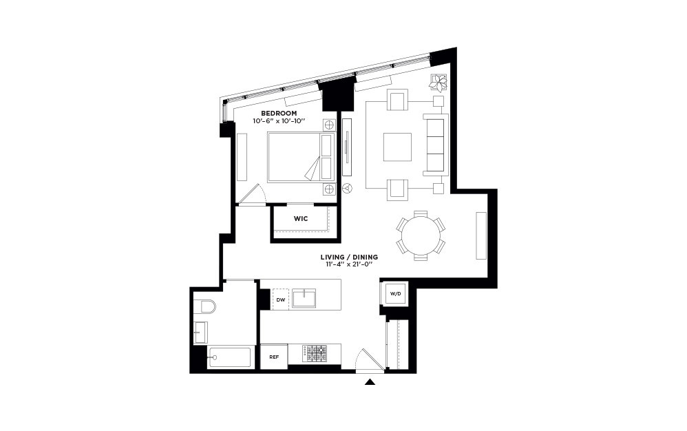 T.402-T.902 - 1 bedroom floorplan layout with 1 bath and 771 square feet.