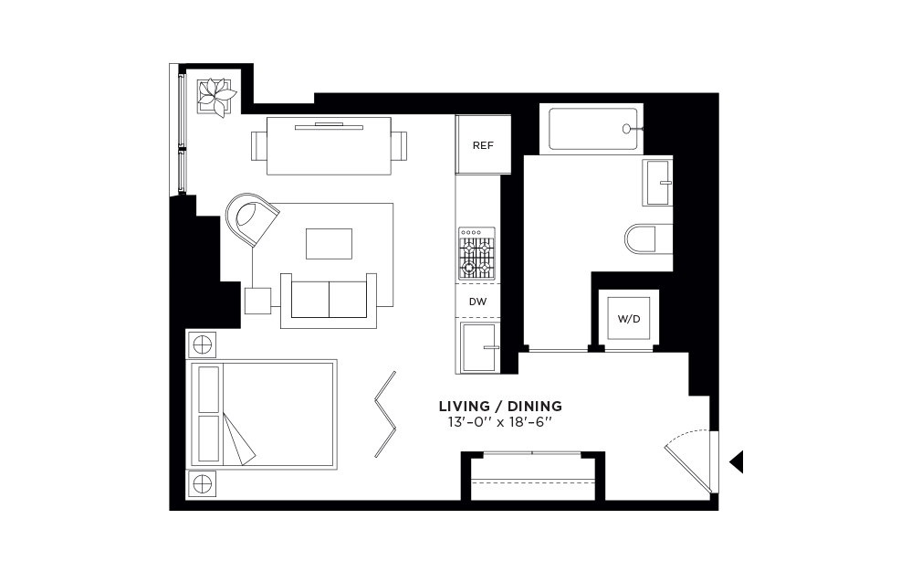 T.403 - Studio floorplan layout with 1 bath and 501 square feet.