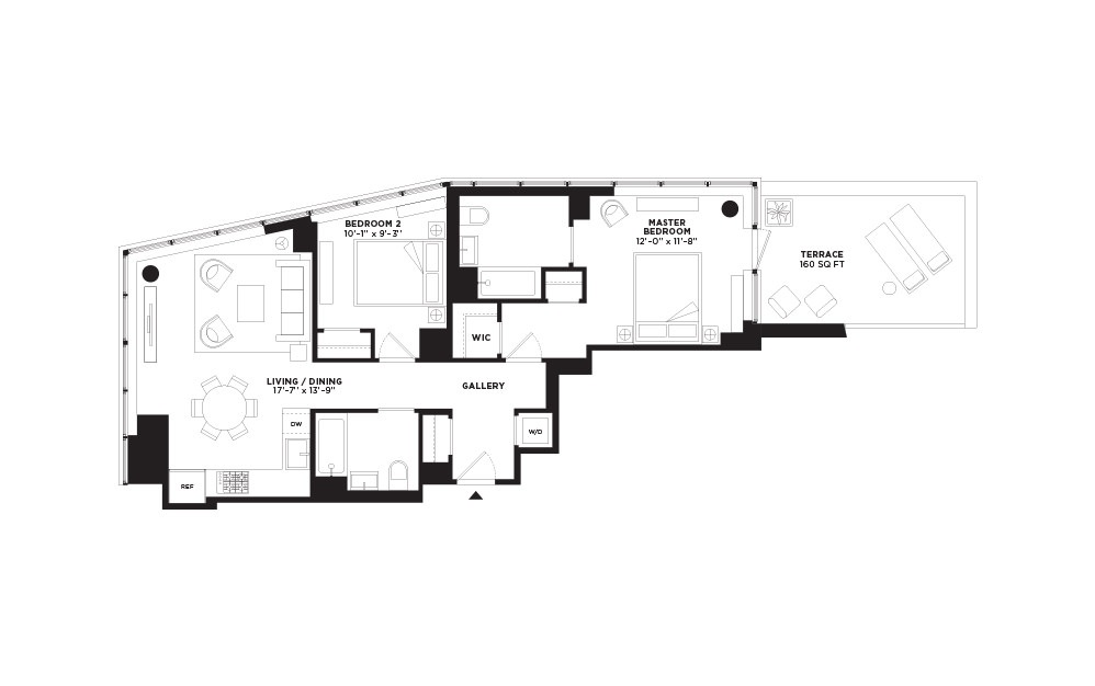 T.404 - 2 bedroom floorplan layout with 2 baths and 995 square feet.