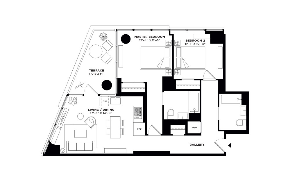 T.1001-T.2301 - 2 bedroom floorplan layout with 2 baths and 922 square feet.
