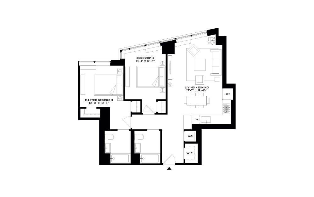 T.1002-T.2702 - 2 bedroom floorplan layout with 2 baths and 963 square feet.