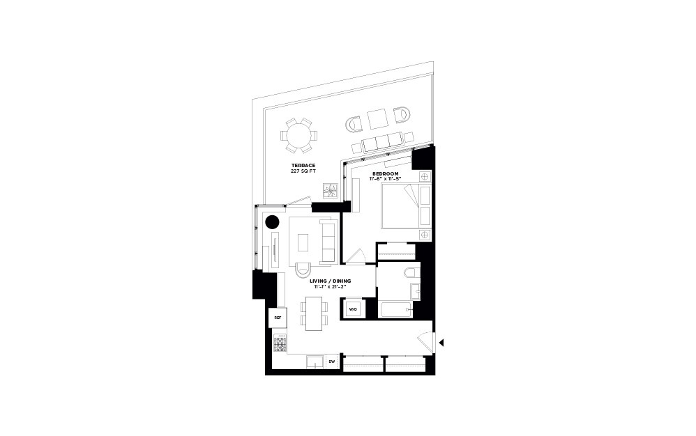 T.1003 - 1 bedroom floorplan layout with 1 bath and 707 square feet.
