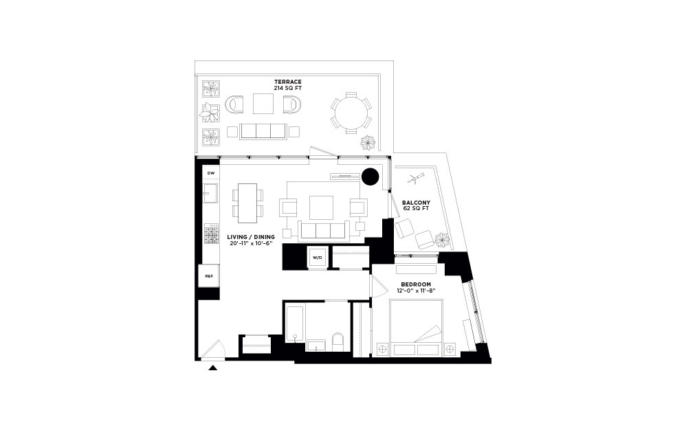 T.1004 - 1 bedroom floorplan layout with 1 bath and 774 square feet.