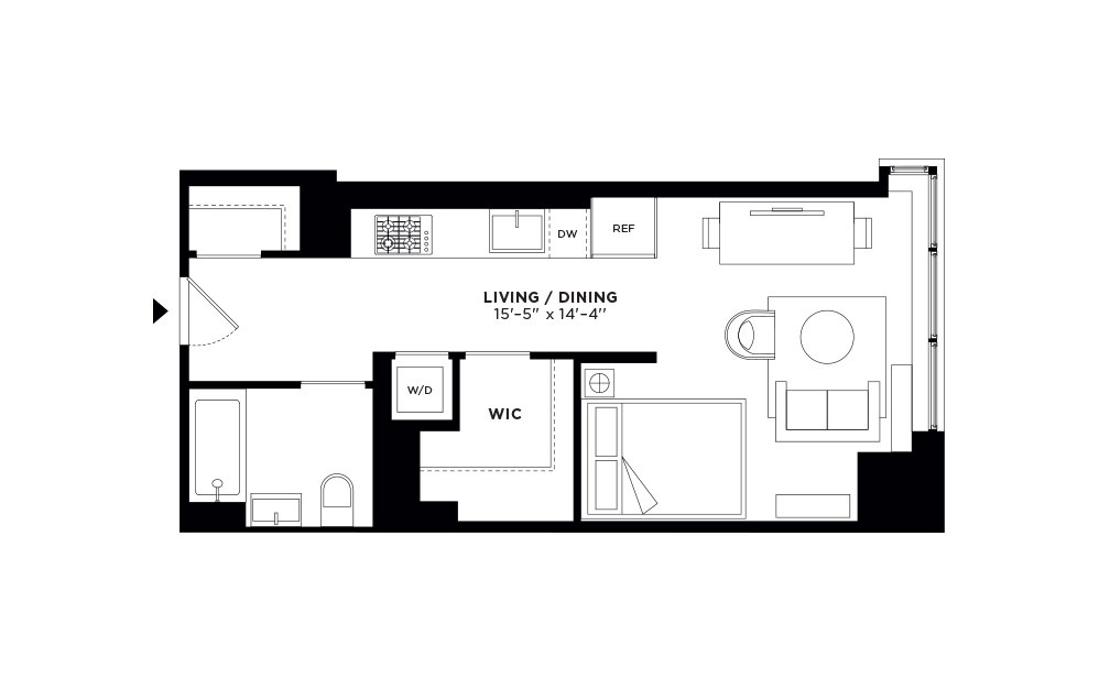 T.1005/T.1105-T.2705 - Studio floorplan layout with 1 bath and 523 square feet.