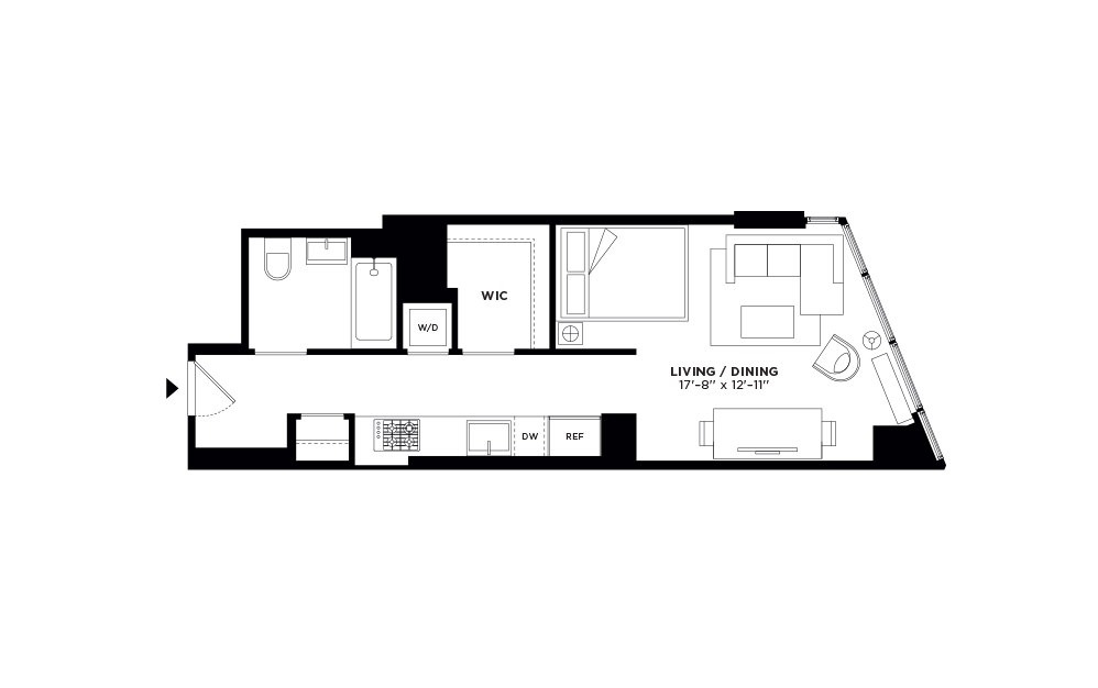 T.1006-T.2706 - Studio floorplan layout with 1 bath and 492 square feet.