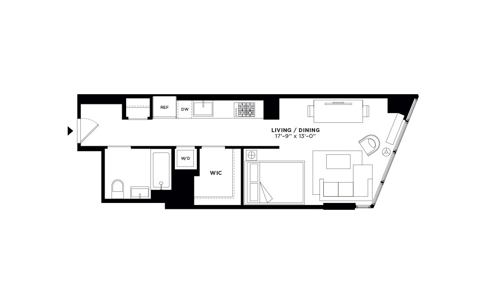 T.1007-T.2707 - Studio floorplan layout with 1 bath and 493 square feet.