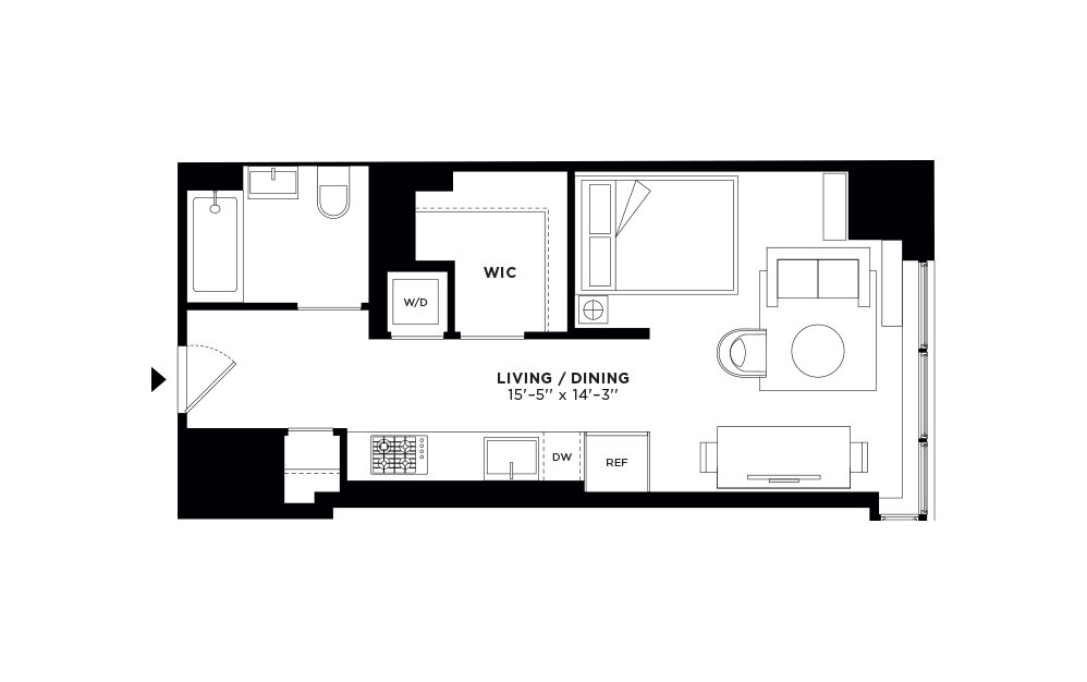 T.1008/T.1108-T.2708 - Studio floorplan layout with 1 bath and 522 square feet.