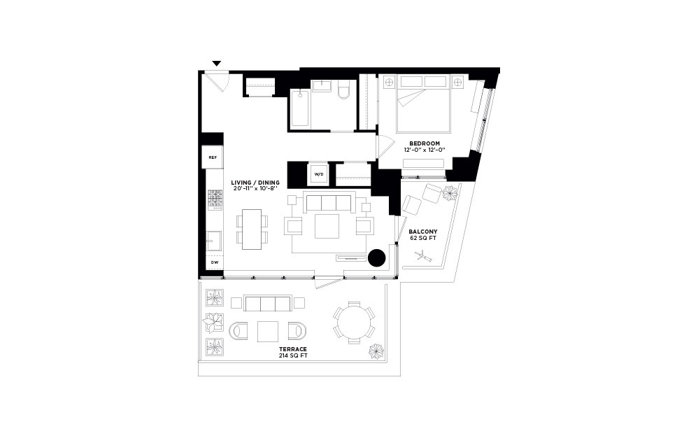 T.1009 - 1 bedroom floorplan layout with 1 bath and 774 square feet.