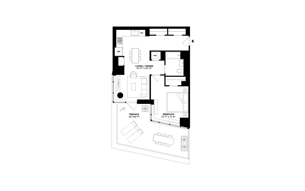 T.1010 - 1 bedroom floorplan layout with 1 bath and 749 square feet.