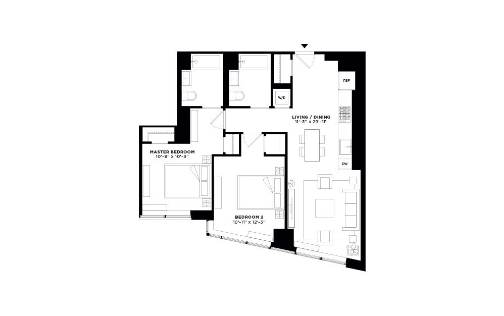 T.1011-T.2711 - 2 bedroom floorplan layout with 2 baths and 924 square feet.