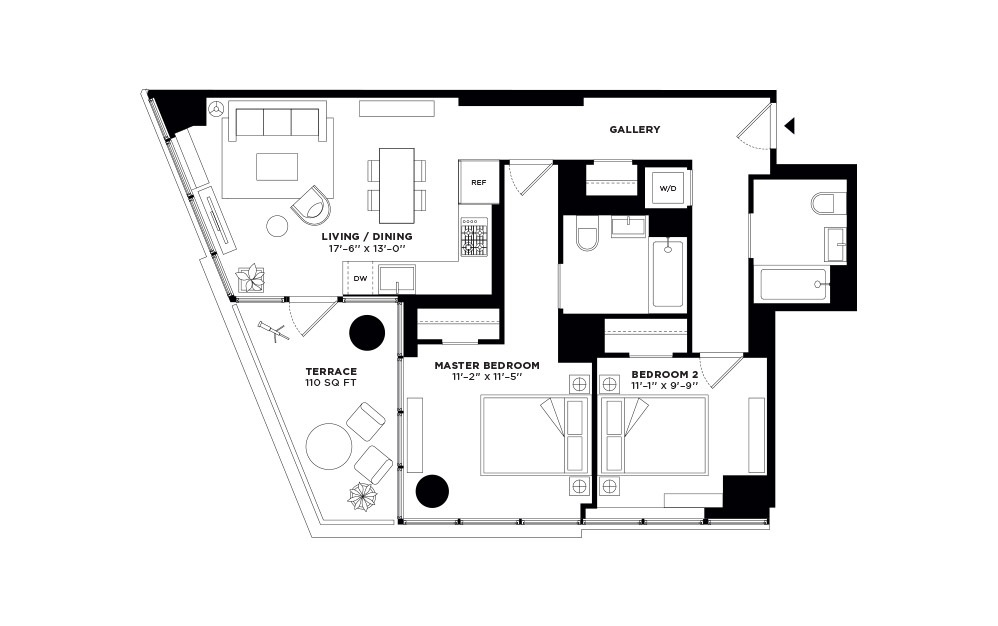 T.1012-T.2312 - 2 bedroom floorplan layout with 2 baths and 923 square feet.