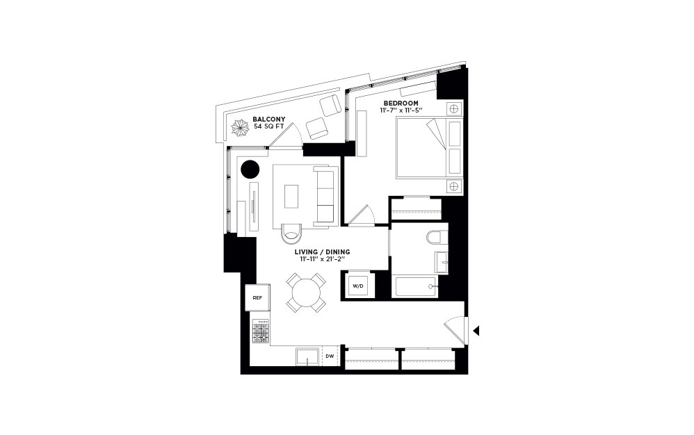 T.1103-T.2703 - 1 bedroom floorplan layout with 1 bath and 707 square feet.