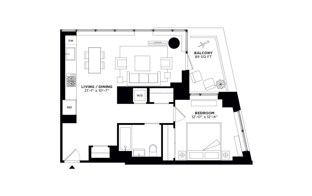 T.1104-T.2704 - 1 bedroom floorplan layout with 1 bath and 774 square feet.