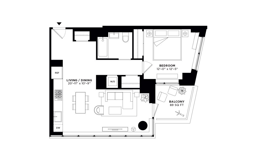 T.1109-T.2709 - 1 bedroom floorplan layout with 1 bath and 774 square feet.