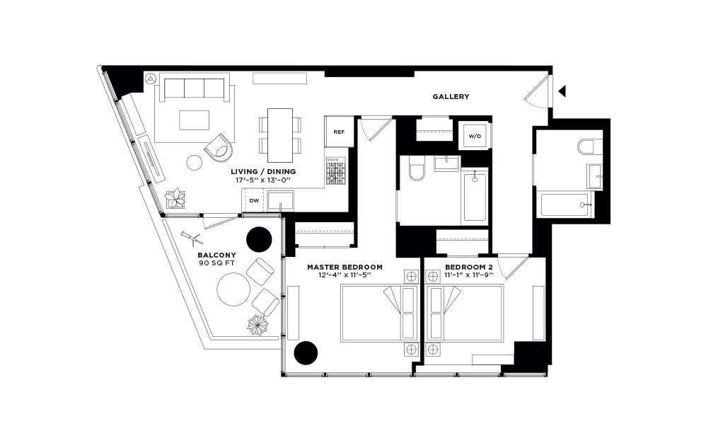 T.2412-T.2712 - 2 bedroom floorplan layout with 2 baths and 923 square feet.
