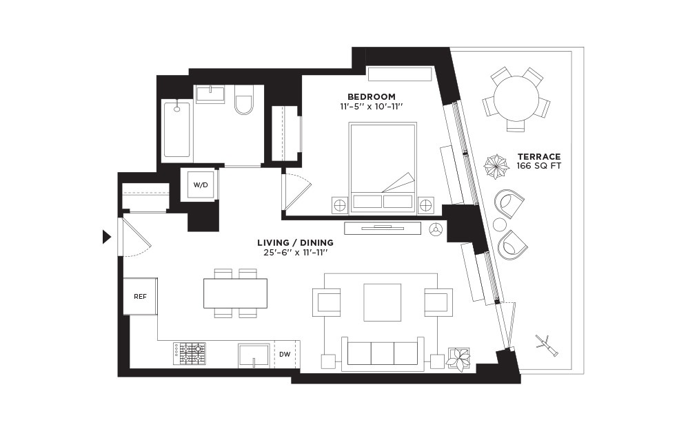 T.405 - 1 bedroom floorplan layout with 1 bath and 676 square feet.