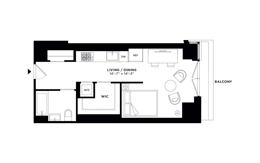 T.406 - Studio floorplan layout with 1 bath and 505 square feet.