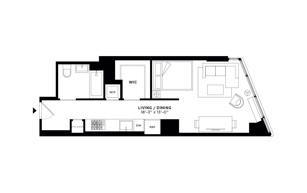 T.407-T.907 - Studio floorplan layout with 1 bath and 497 to 500 square feet.