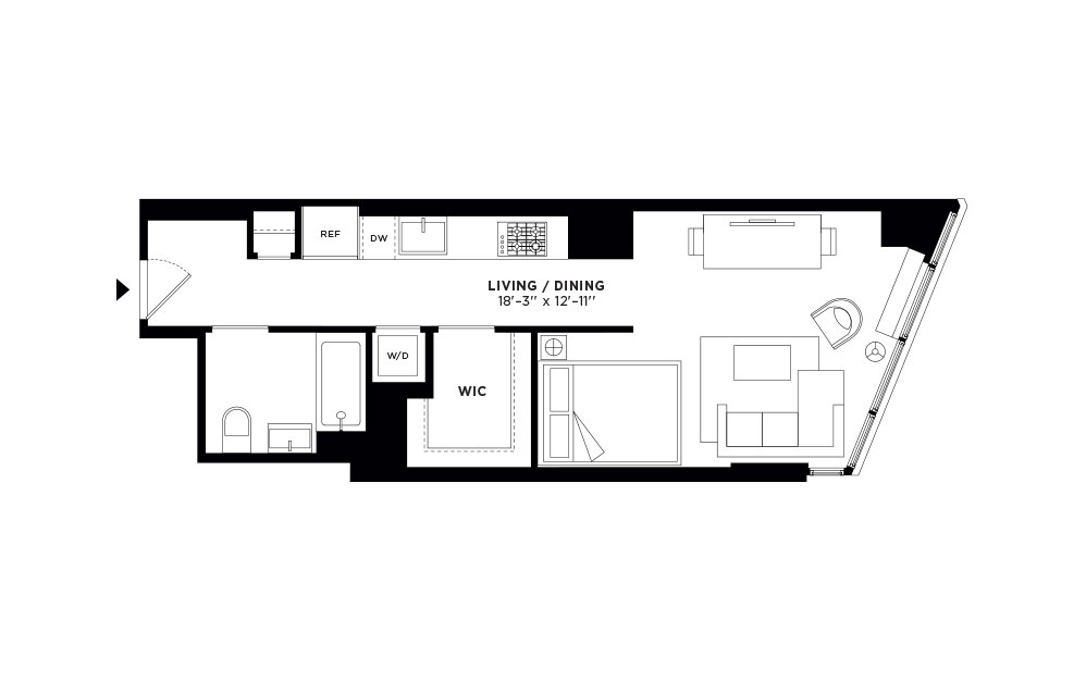 T.408 - Studio floorplan layout with 1 bath and 500 square feet.