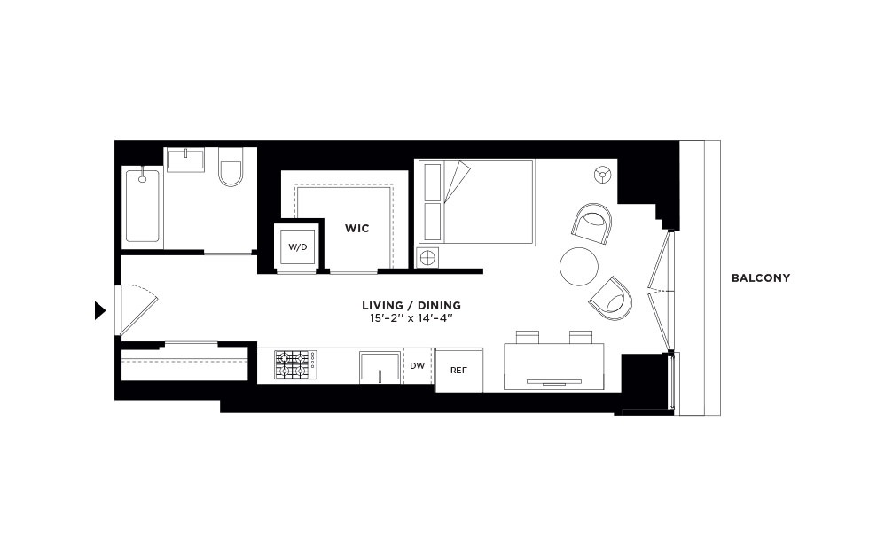 T.409 - Studio floorplan layout with 1 bath and 507 square feet.