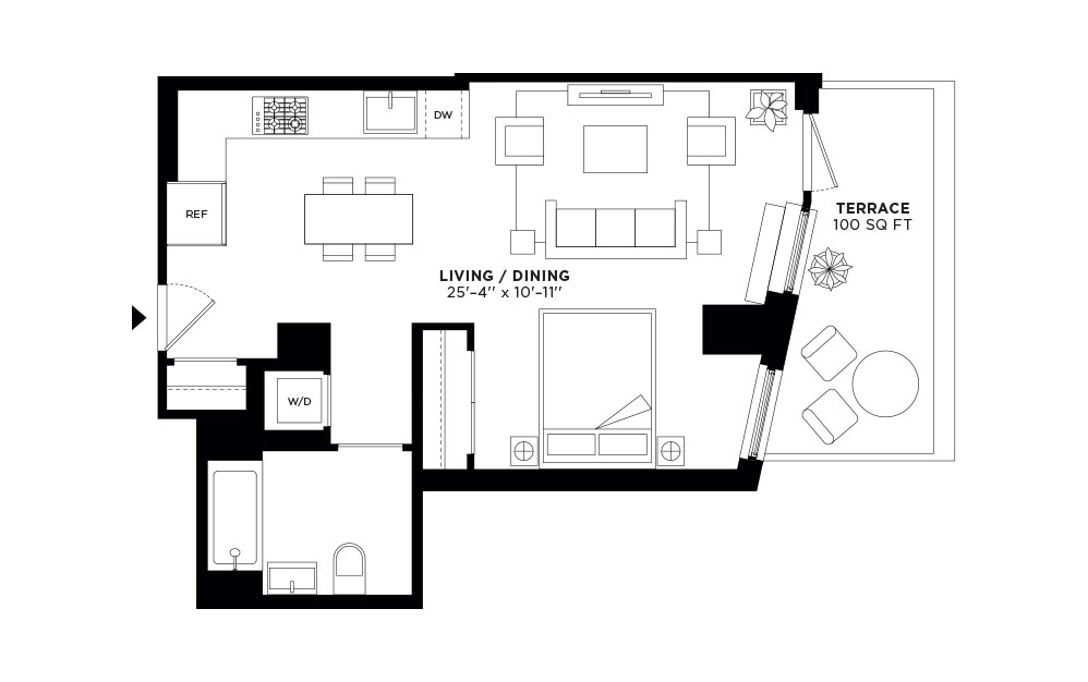 T.410 - Studio floorplan layout with 1 bath and 718 square feet.