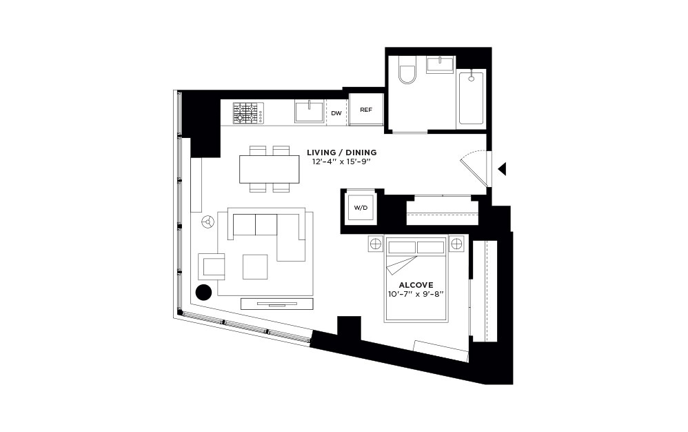 T.411 - Studio floorplan layout with 1 bath and 605 square feet.