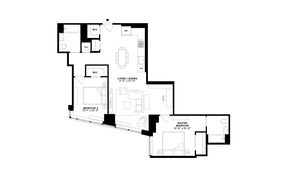 T.412 - 2 bedroom floorplan layout with 2 baths and 1106 square feet.
