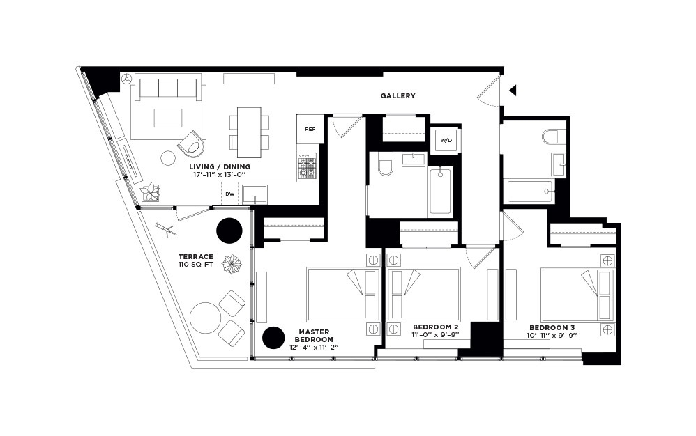 T.413 - 3 bedroom floorplan layout with 2 baths and 1091 square feet.