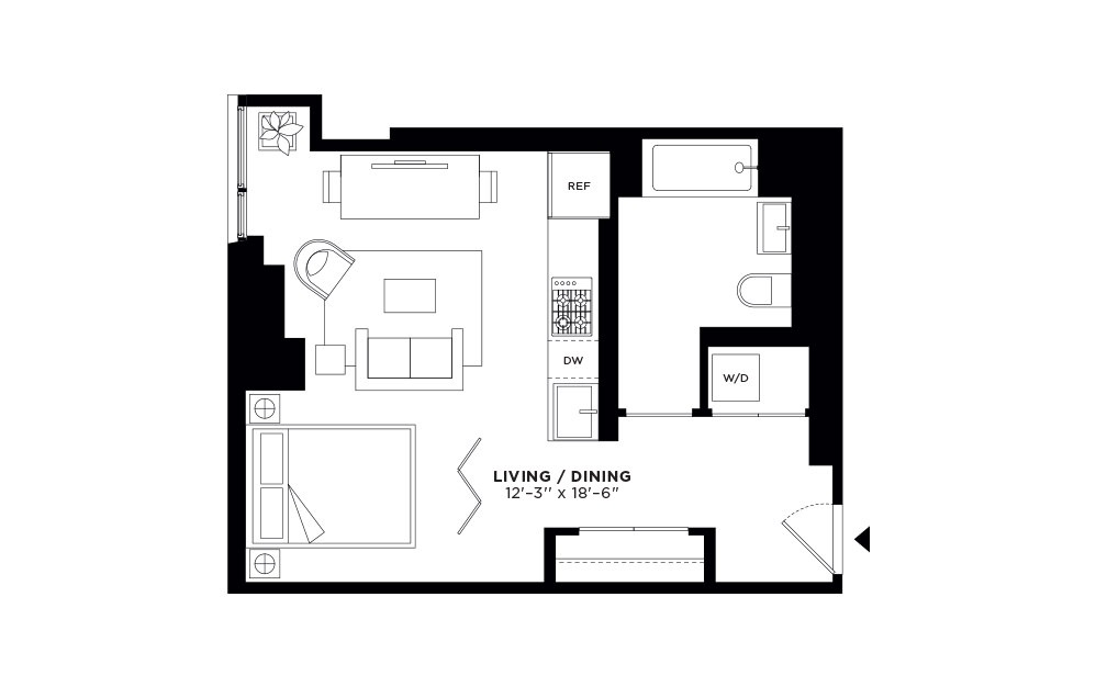T.503-T.903 - Studio floorplan layout with 1 bath and 498 square feet.