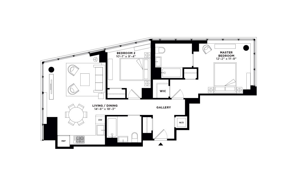 T.504-T.904 - 2 bedroom floorplan layout with 2 baths and 991 square feet.
