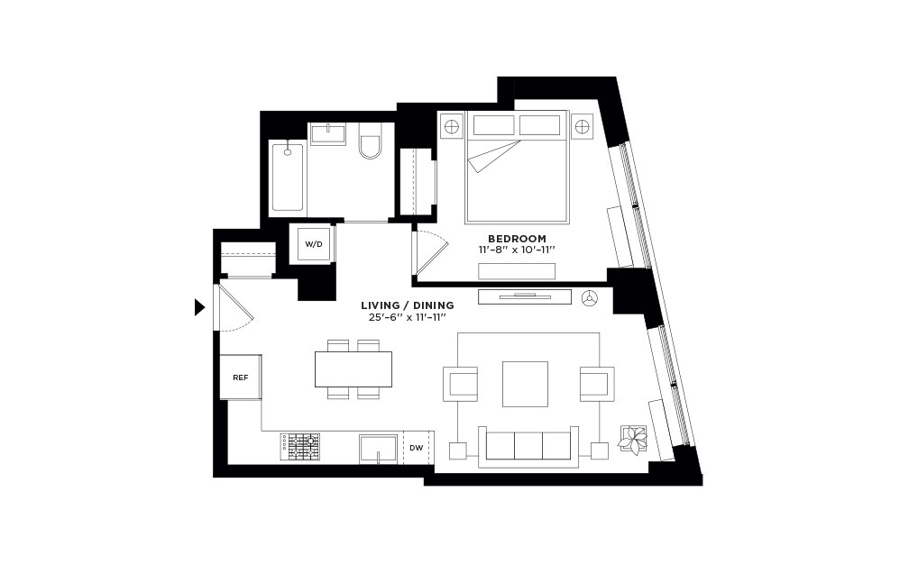 T.505-T.905 - 1 bedroom floorplan layout with 1 bath and 676 square feet.