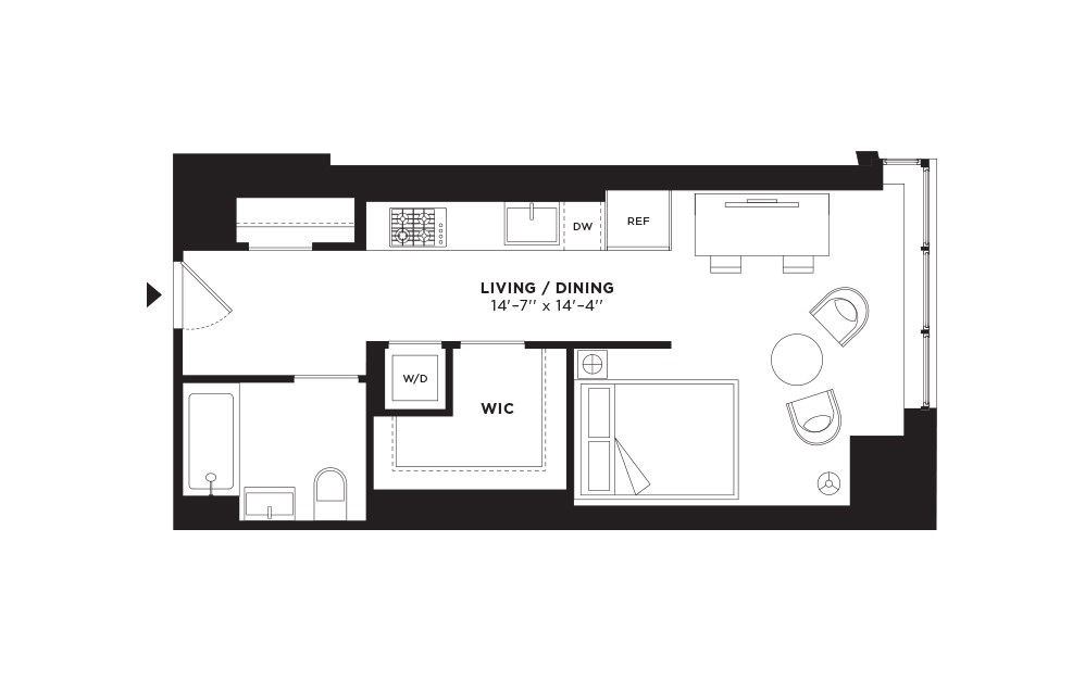 T.506-T.906 - Studio floorplan layout with 1 bath and 509 square feet.