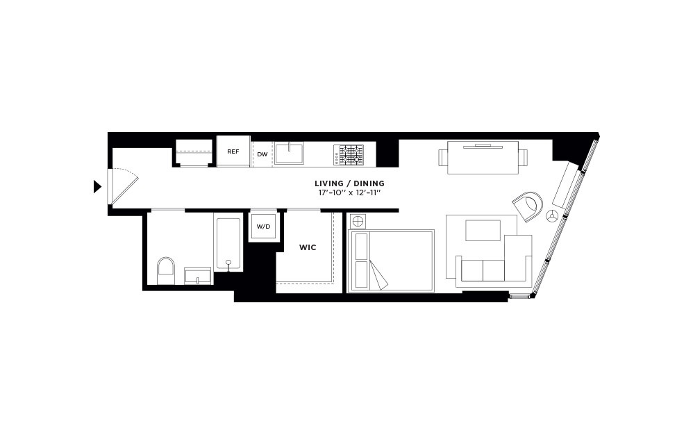 T.508-T.908 - Studio floorplan layout with 1 bath and 497 square feet.