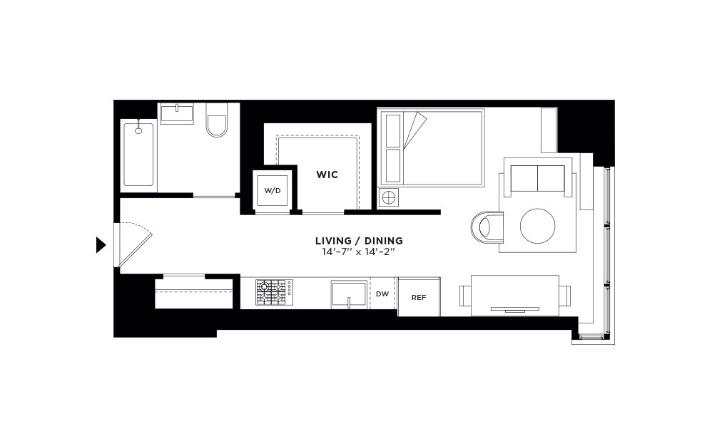 T.509-T.909 - Studio floorplan layout with 1 bath and 509 square feet.