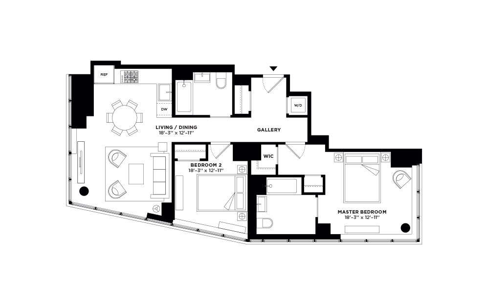 T.511-T.911 - 2 bedroom floorplan layout with 2 baths and 991 square feet.