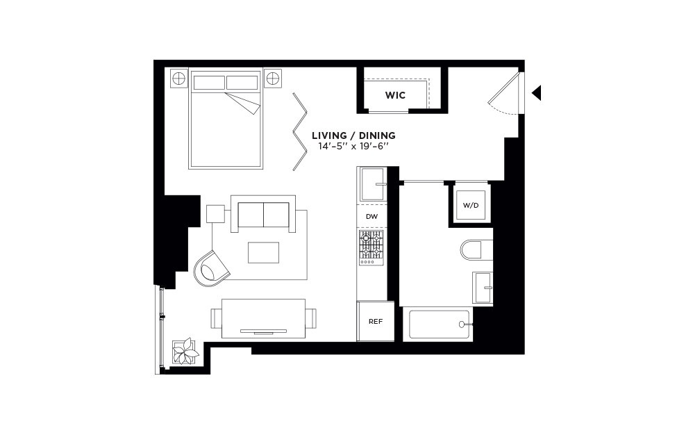T.512-T.912 - Studio floorplan layout with 1 bath and 526 square feet.