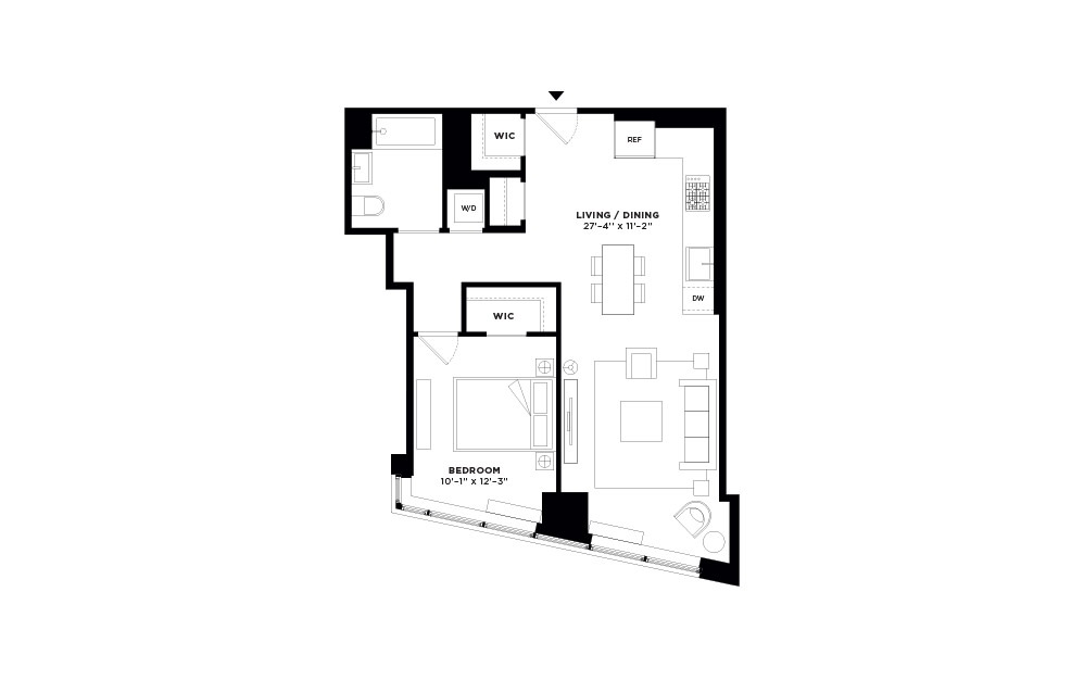 T.513-T.913 - 1 bedroom floorplan layout with 1 bath and 744 square feet.