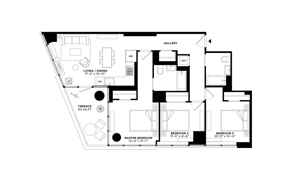 T.514-T.914 - 3 bedroom floorplan layout with 2 baths and 1092 square feet.