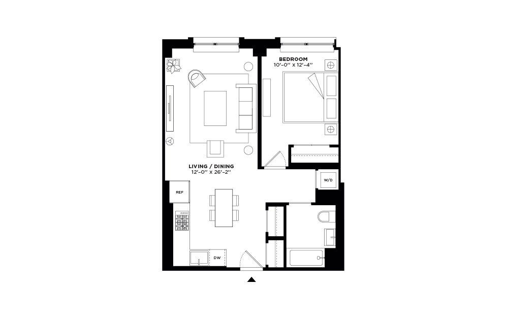 N.201-N/S.301 - 1 bedroom floorplan layout with 1 bath and 717 square feet.