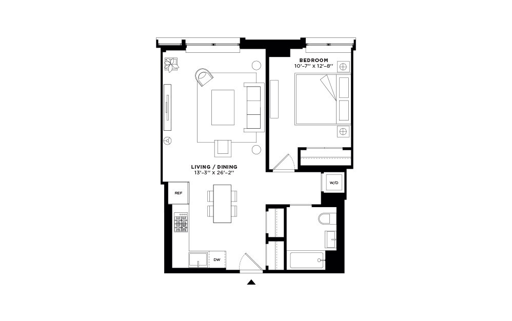 N/S.202-N/S.302 - 1 bedroom floorplan layout with 1 bath and 721 to 722 square feet.