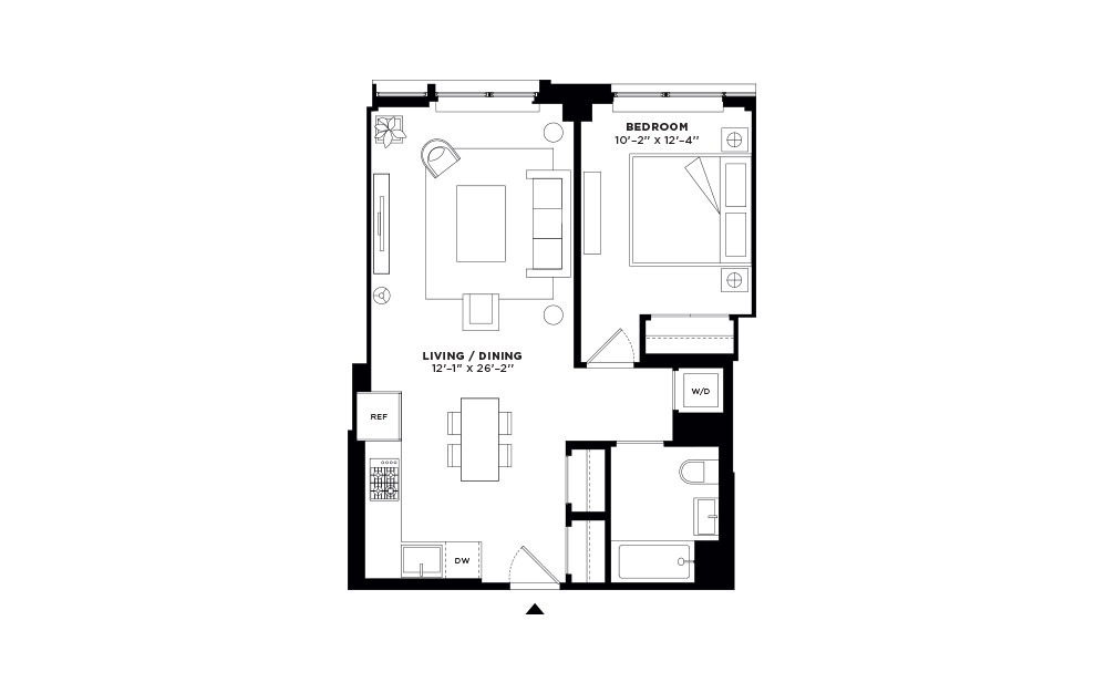 N/S.203-N/S.303 - 1 bedroom floorplan layout with 1 bath and 684 to 687 square feet.
