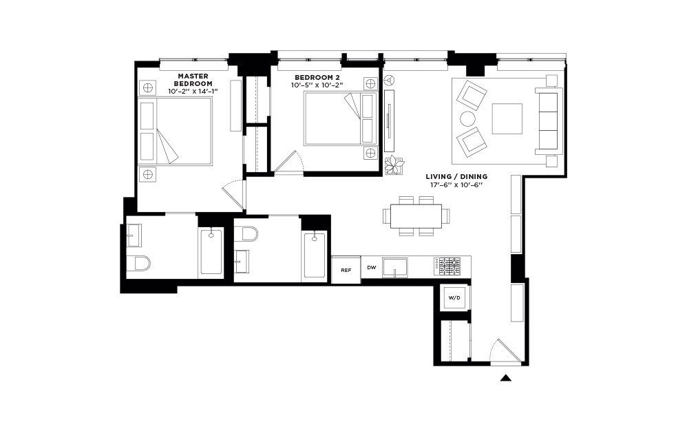 N/S.204 - 2 bedroom floorplan layout with 2 baths and 967 to 970 square feet.