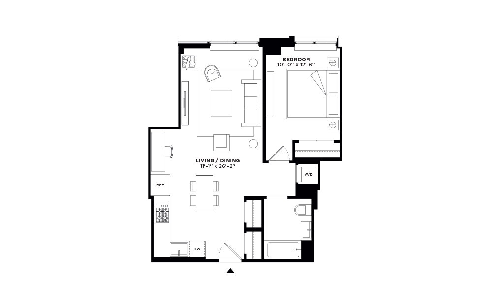 N/S.205-N/S.305 - 1 bedroom floorplan layout with 1 bath and 679 to 683 square feet.