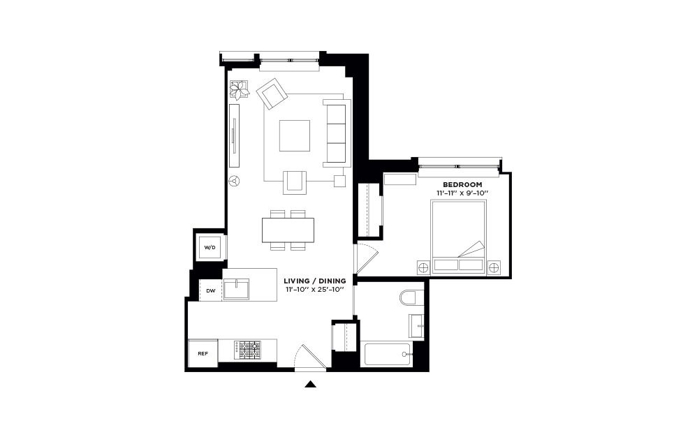 N/S.206-N/S.306,N/S.404 - 1 bedroom floorplan layout with 1 bath and 655 to 656 square feet.