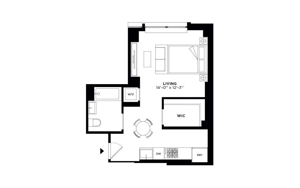 N/S.307 - Studio floorplan layout with 1 bath and 479 square feet.