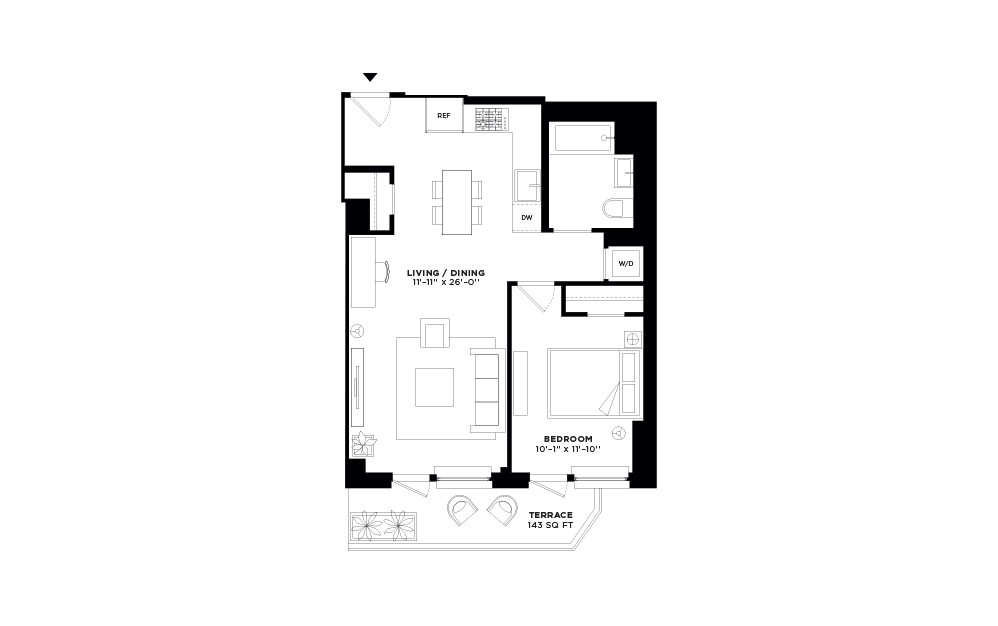 N/S.308 - 1 bedroom floorplan layout with 1 bath and 701 square feet.
