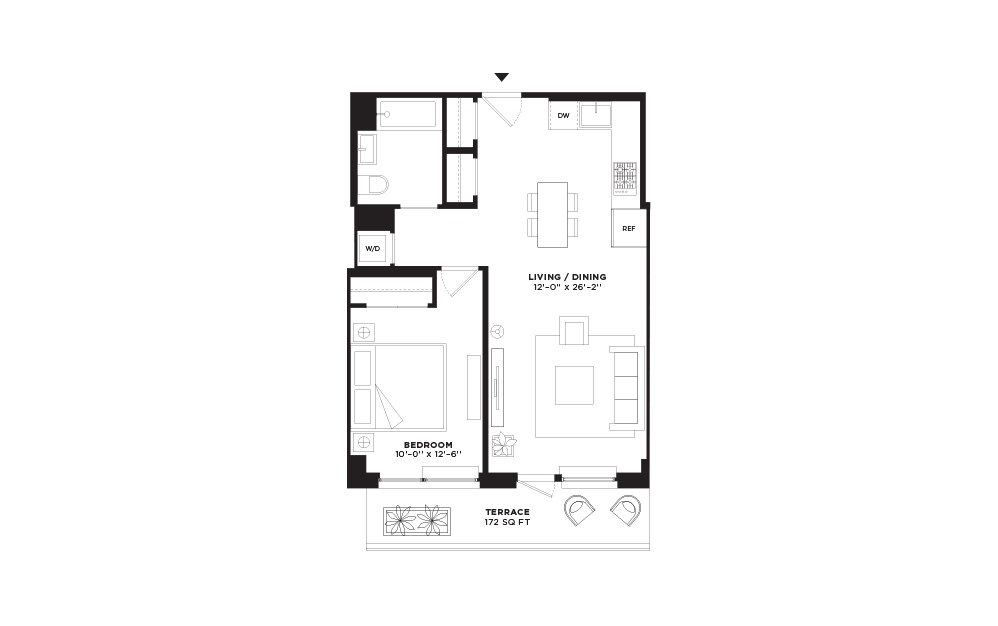 N/S.309 - 1 bedroom floorplan layout with 1 bath and 675 square feet.