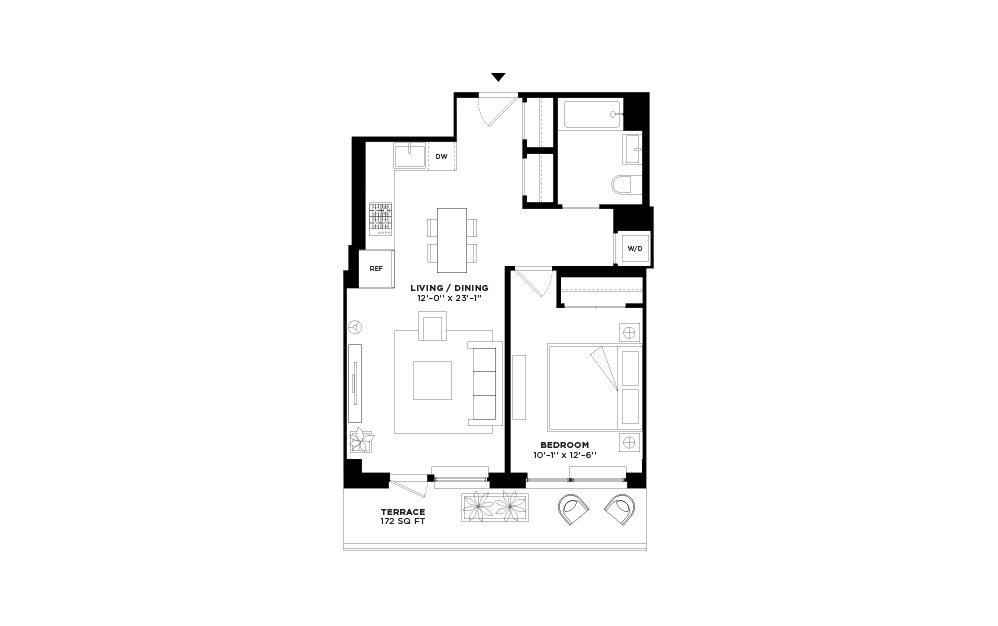 N/S.310 - 1 bedroom floorplan layout with 1 bath and 656 square feet.