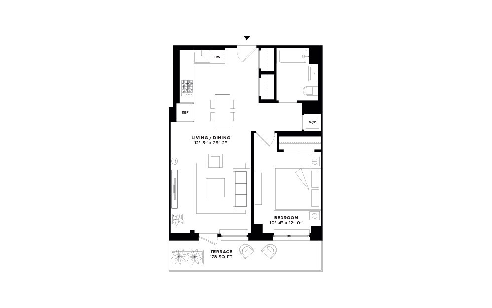 N/S.312 - 1 bedroom floorplan layout with 1 bath and 697 square feet.